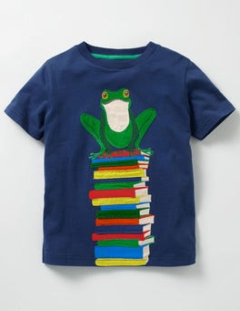 Beacon Blue Frog Big Appliqué T-shirt