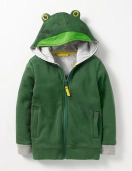 Timber Green Frog Novelty Zip-up Hoodie