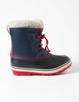 Navy Leather Winter Boots