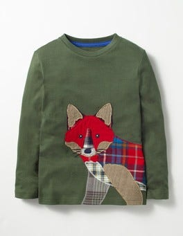 Willow Green Fox Patchwork Appliqué T-shirt