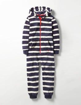 Navy/Ecru Cosy Fleece All-in-one