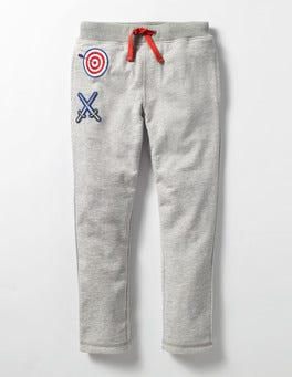 Grey Marl Lined Patch Sweatpants