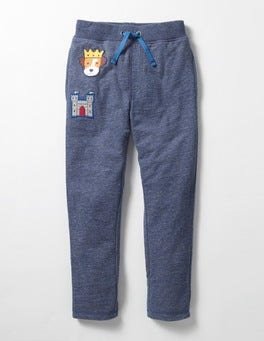 Navy Marl Lined Patch Sweatpants