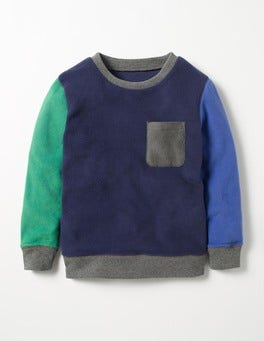 Mini Navy Colourblock Fleece Sweatshirt