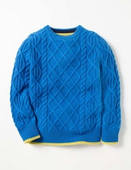 Swedish Blue Cable Crew Jumper