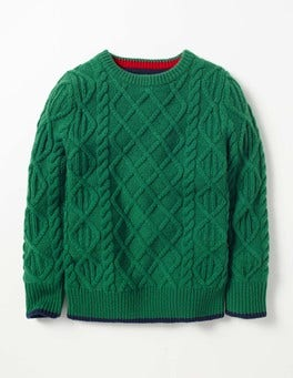 Crocodile Green Cable Crew Sweater