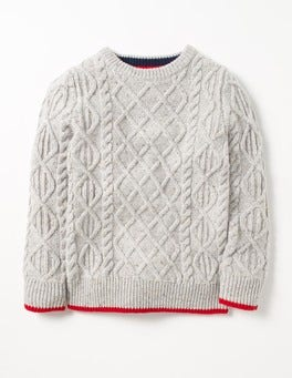 Polar Ecru Fleck Cable Crew Sweater