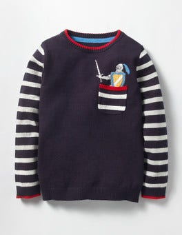 Navy Knight Pocket Crew Jumper