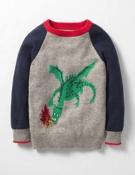Grey Marl/Navy Dragon Medieval Adventures Sweater