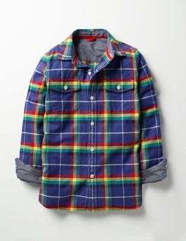 Starboard Blue Rainbow Check Brushed Check Shirt