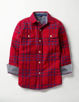 Engine Red/Space Blue Check Brushed Check Shirt