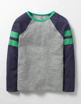Grey Marl Retro Sports Stripe T-shirt