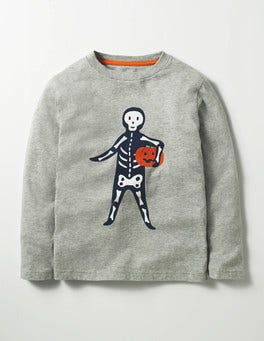 Grey Marl Mr Pumpkin Spooky Glow T-shirt