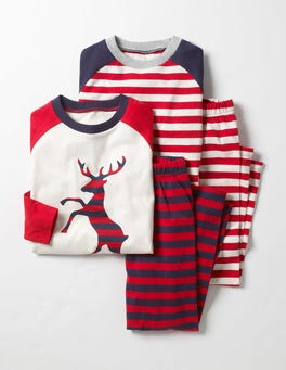 Beatnik Red Stag Twin Pack Pyjamas