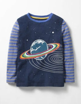 Gymnasium Blue Saturn Glow-in-the-dark Space T-shirt