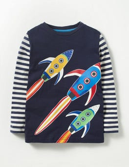 Navy Rockets Glow-in-the-dark Space T-shirt