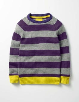 Winter Purple/Cloud Grey Stripy Raglan Crew Jumper