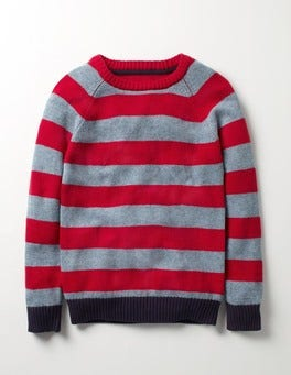 Dusk Blue/Poppy Red Stripy Raglan Crew Jumper