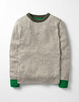 Grey Marl/Evergreen Cosy Crew Jumper