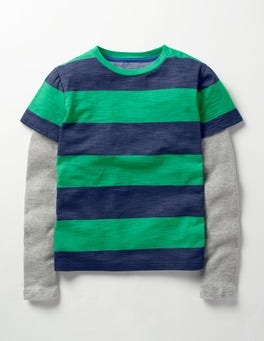 Astro Green/Beacon Blue Layered Stripe T-shirt