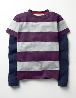 Winter Purple/Grey Marl Layered Stripe T-shirt