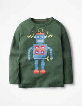 Wellington Green Robot Long-sleeved Graphic T-shirt