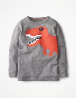 Mid Grey Dino Long-sleeved Graphic T-shirt