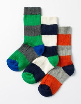 Multi Stripe 3 Pack Chunky Socks