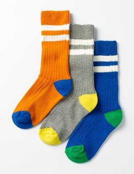 Colour Block 3 Pack Chunky Socks