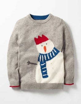 Silver Grey Snowman Festive Crew Sweater