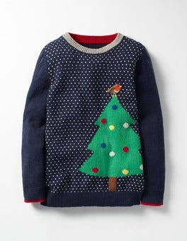 Navy Christmas Tree Festive Crew Sweater