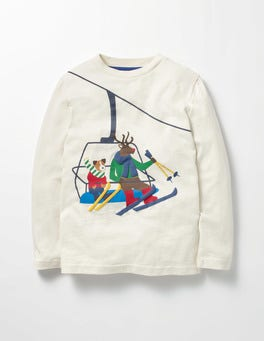 Ecru Ski Lift Festive Vehicle T-shirt