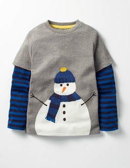 Grey Marl Snowman Layered Festive T-shirt