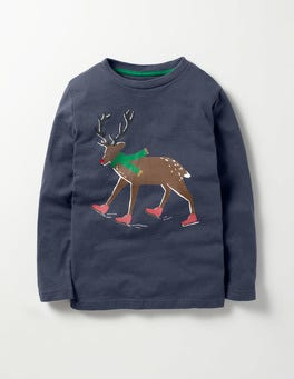Meteorite Grey Reindeer Festive Adventurer T-shirt