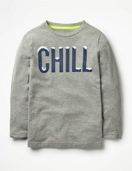 Grey Marl Chill Festive Graphic T-shirt