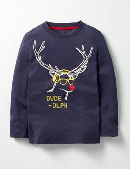 Navy Dude-olph Festive Graphic T-shirt