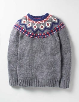 Sidewalk Grey Fair Isle Chunky Fair Isle Crew Sweater
