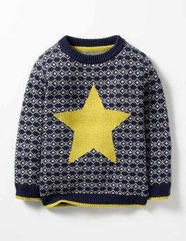 Bright Navy Fair Isle Star Festive Fair Isle Crew Sweater