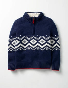 Bright Navy Fair Isle Chunky Half-zip Sweater