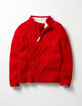 Crimson Red Cable Chunky Half-zip Sweater