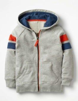 Grey Marl Sports Stripe Zip-up Hoodie