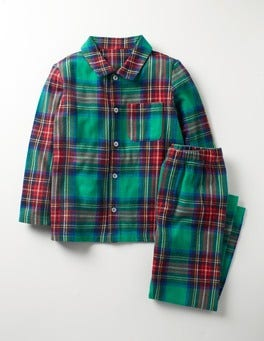 Wild Green/Klein Blue Check Woven Pyjamas