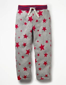 Grey Marl Red Stars Fun Track Pants