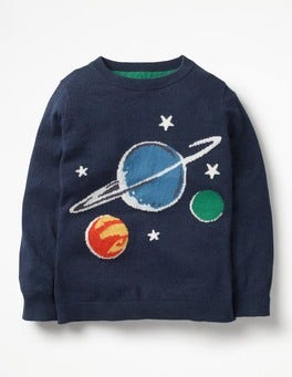Navy Glow-in-the-dark Planets Logo Crew Sweater