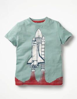 Shore Blue Rocket Space Graphic T-shirt