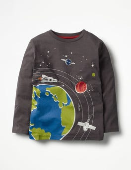 Shark Grey Earth Orbit Glow-in-the-dark Space T-shirt