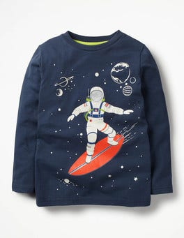School Navy Surfing Astronaut Glow-in-the-dark Space T-shirt