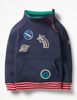 Beacon Blue Space Patches Raglan Zip Popover Sweatshirt