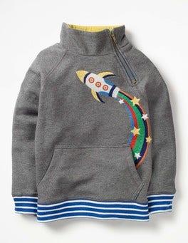Grey Marl Rocket Raglan Zip Popover Sweatshirt
