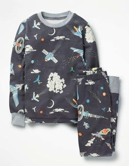 Asphalt Grey Outer Space Glow In The Dark Long Pajamas